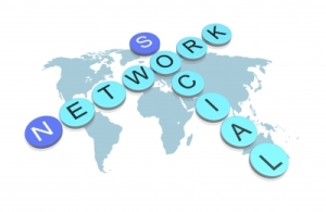social networks written on world map
